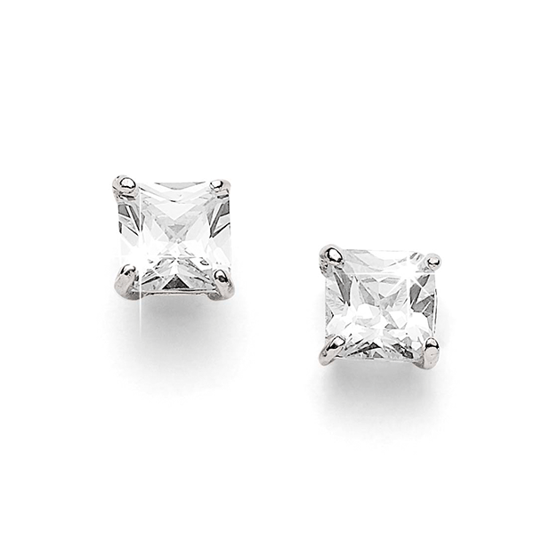Silver 8mm princess cut cubic zirconia studs