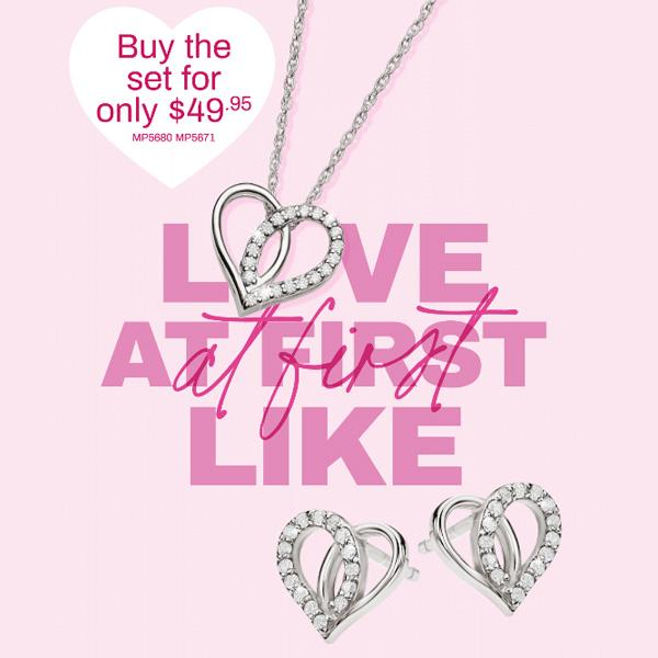 Sterling Silver CZ Heart Necklet and Earrings SET
