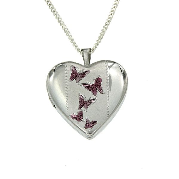 Sterling Silver Heart Shape Pink Butterfly Locket