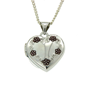 Sterling Silver Heart Shape Pink Flower Locket