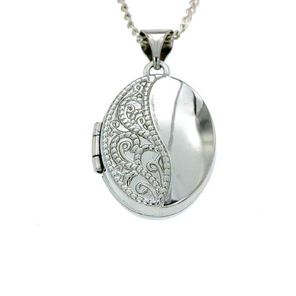 Sterling Silver Oval Shape Embossed And Polished Locket