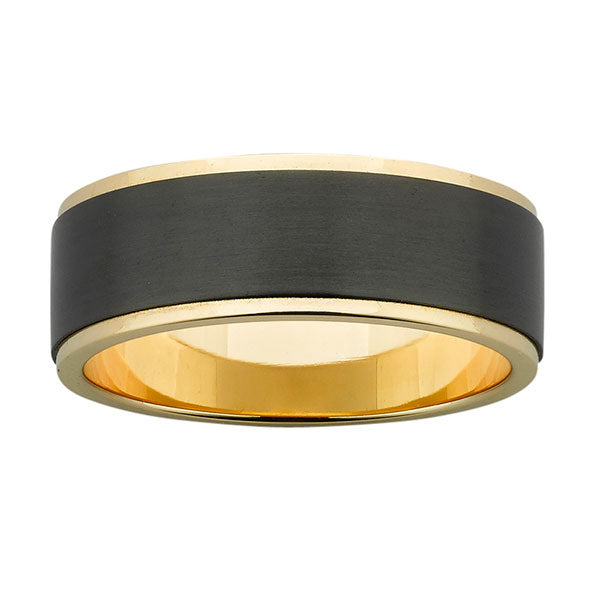 Ziro Gold & Black Zirconium Ring