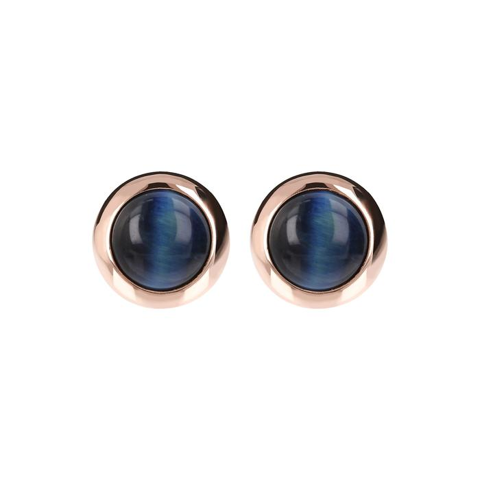 BRONZALLURE Round Cabochon Stone Earrings with Blue Tiger Eye