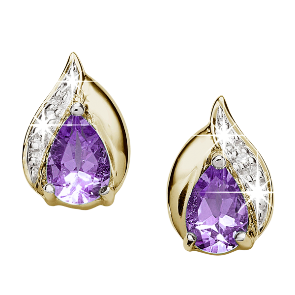 9ct gold amethyst & diamond studs