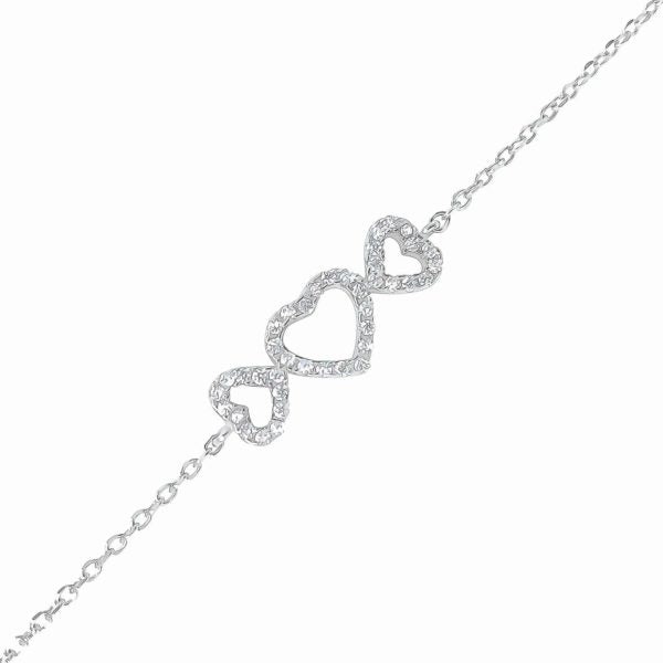 Sterling Silver CZ Triple Heart Bracelet