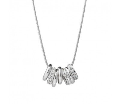 Sterling Silver CZ 7 Lucky Rings Necklace