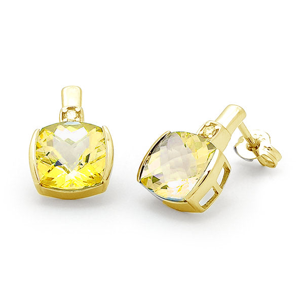 9ct Gold Citrine & Diamond End Set Stud Earrings