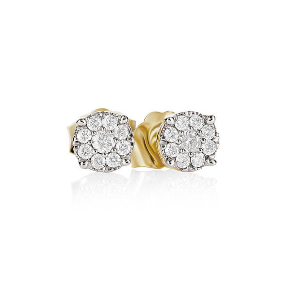9Ct Gold 0.16Ct + Diamond Cluster Studs