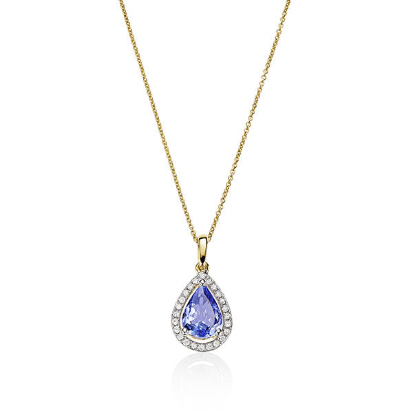 9Ct Gold Tanzanite & Diamond Halo Pendant