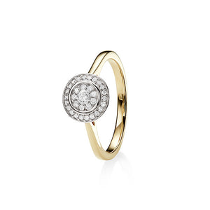 9Ct Gold 0.25Ct + Diamond Halo Cluster Ring