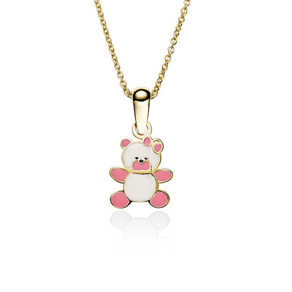9Ct Gold Enamel Teddy Bear Pendant