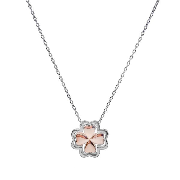 Sterling Silver Two Tone 4 Leaf Clover Necklace