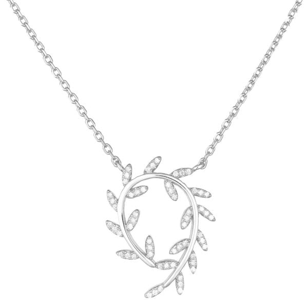 Sterling Silver CZ Leaves Necklace