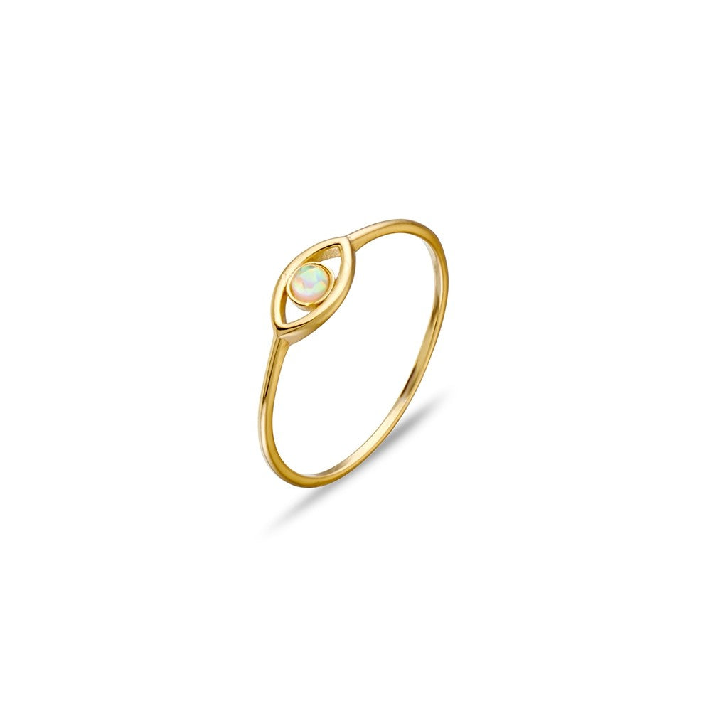 Gold Sterling Silver Eye Ring