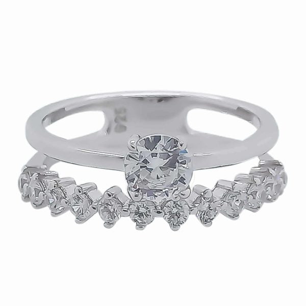 Sterling Silver CZ Double Ring