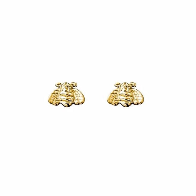 Gold Sterling Silver Bee Studs
