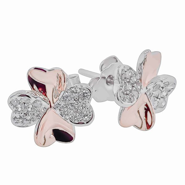 Sterling Silver Two Tone 4 Leaf Clover CZ Stud Earrings