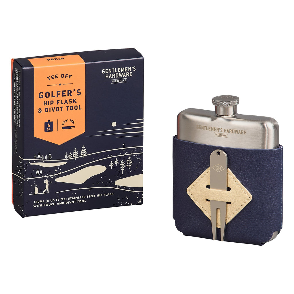 Golfer's Hip Flask and Divot Tool
