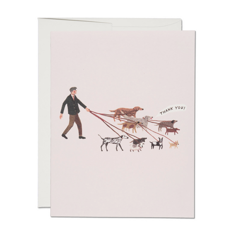 Red Cap Thank You Card - Pink with Dog Walker