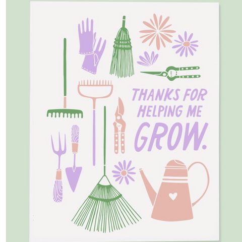 """Thank You for Helping Me Grow"" Thank You Card"