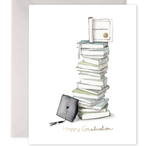 Stack of Books Graduation Card