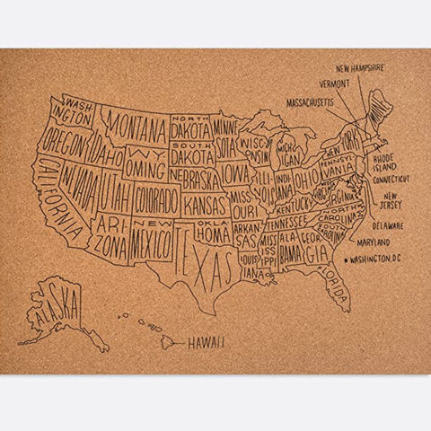 "Corkboard Map of the US 18""x24"" - pickup only"