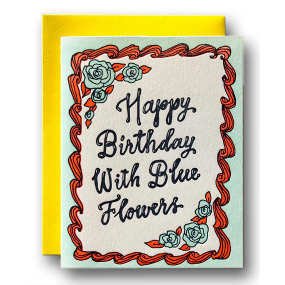 With Blue Flowers Birthday Card