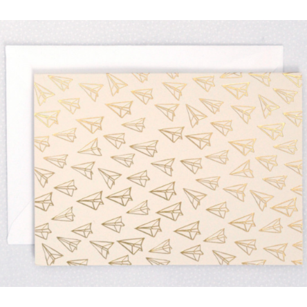 Gold Foil Airplane Blank Card