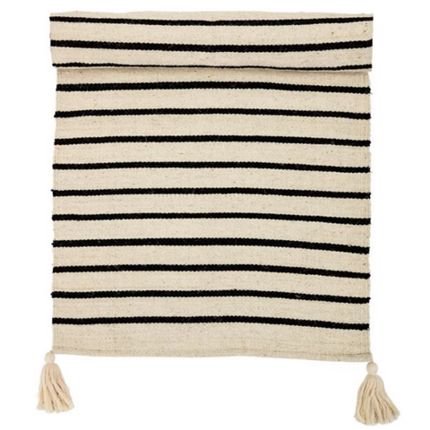 Black and Cream Striped Rug - pickup only