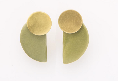 Ceramic and Brass Half Circle Post Earring