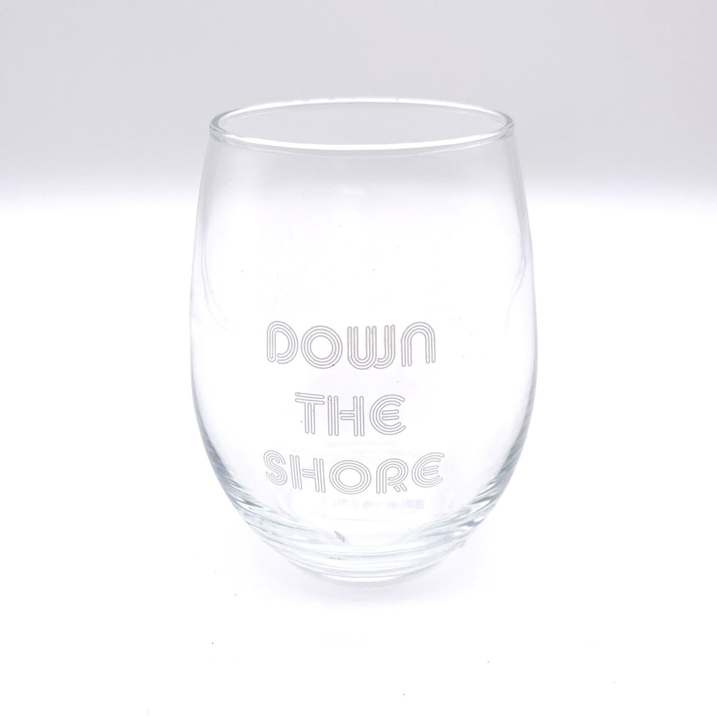 Down the Shore Stemless Wine Glass