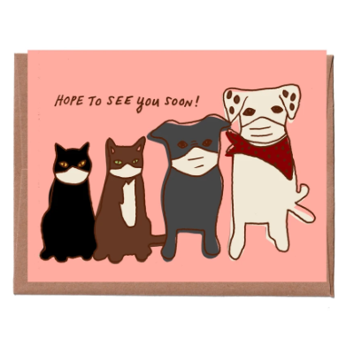 Pets in Masks Everyday Card