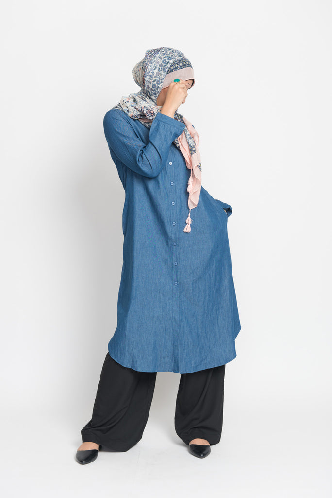 Blue Denim Long Blouse