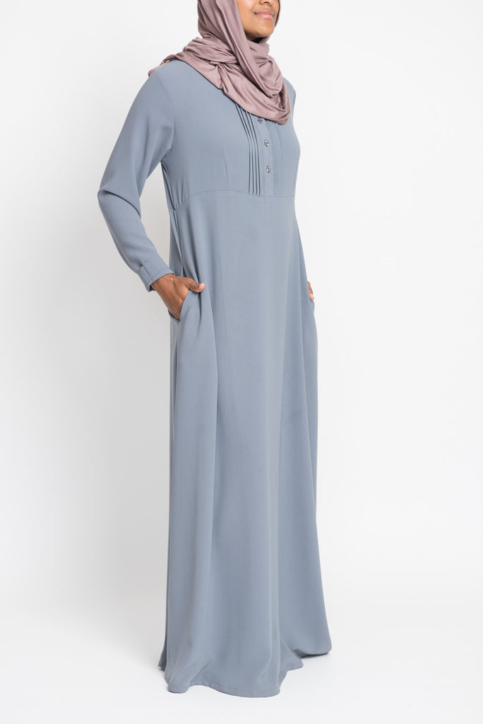 Grey Pintuck Pleated Crepe Jilbab