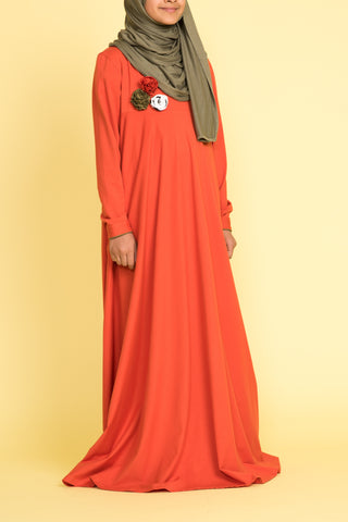 Girl's Orange Corsage Abaya