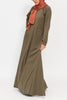 Olive Green Double Zip Abaya