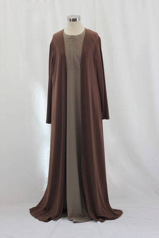 Brown Matte Jersey Long Maxi Cardigan
