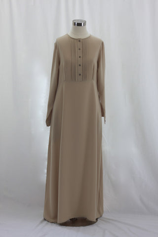 Tan Pintuck Pleated Crepe Jilbab