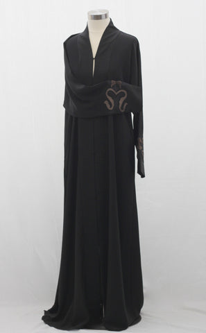 Abstract Brown Embroidered Abaya
