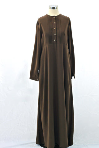 Toffee Brown Pintuck Pleated Crepe Jilbab