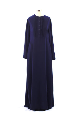 Ink Blue Pintuck Pleated Crepe Jilbab