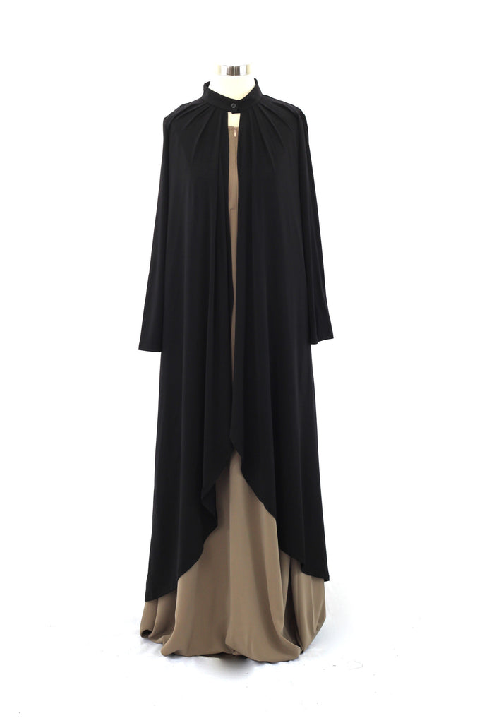 Black Matte Jersey Long Asymmetrical Cardigan