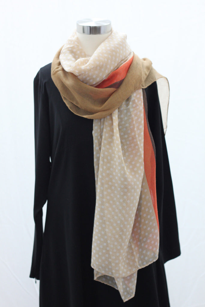 Tan Mini Multi Polka Wrap Hijaab