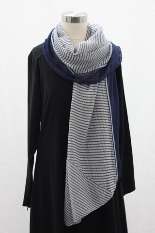 Black Asymmetrical Stripe Wrap Hijab