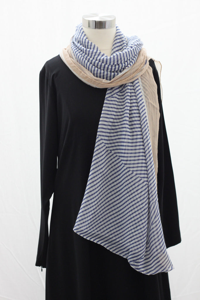 Navy Assymetrical Stripe Wrap Hijaab