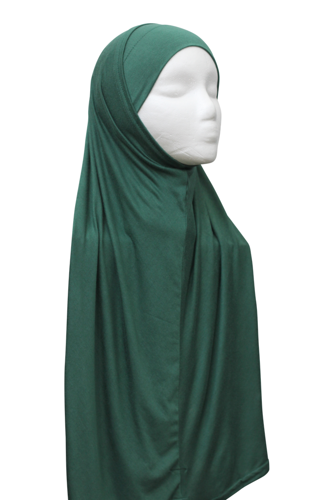 Two Piece Slip-on Hijab - Emerald Green