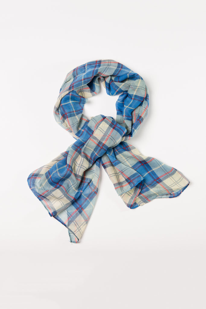 Blue Plaid Wrap Hijab