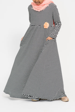 Girl's Black Stripe Peach Corsage Abaya