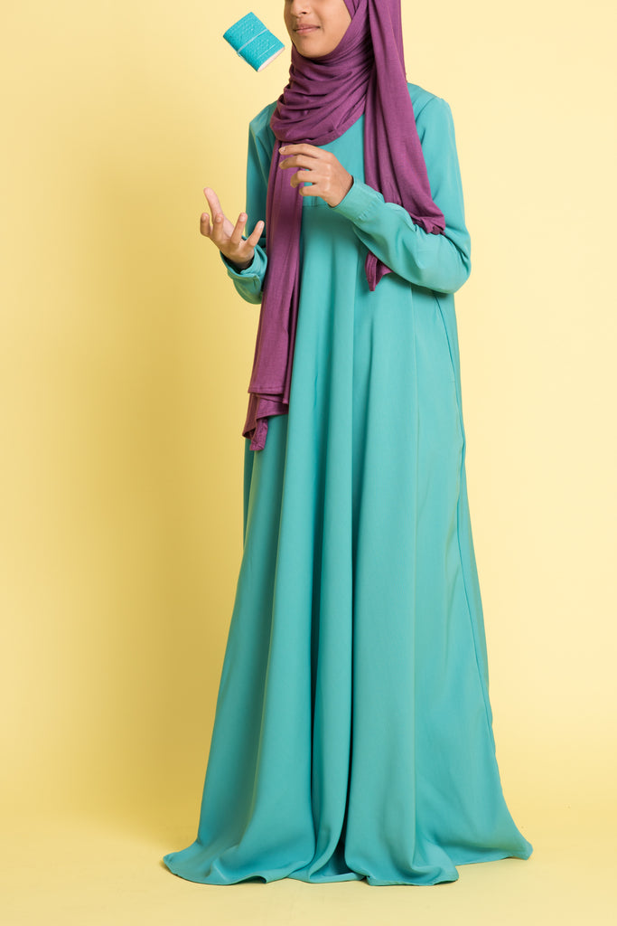 Girl's Aqua Empire Waist Abaya