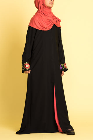 Girl's Black Embroidered Open Front Abaya